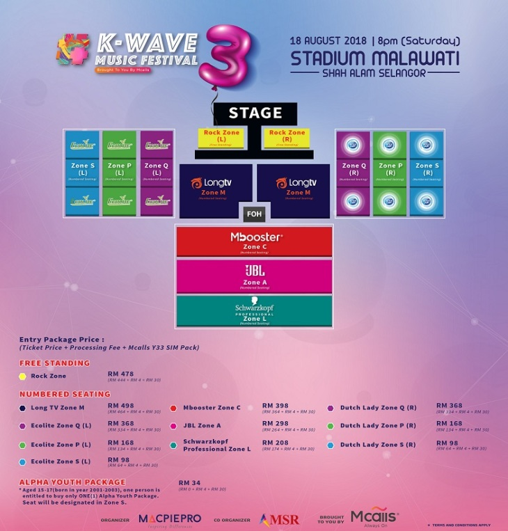 K-WAVE 3 Music Festival Brought To You By Mcalls Seating Plan