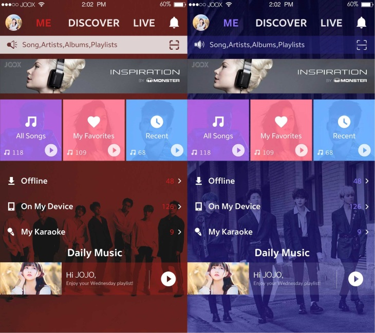 joox user interface_ikon and winner